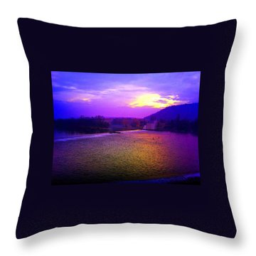 Vltava River Prague Sunset Throw Pillow