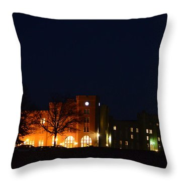 Throw Pillow featuring the photograph Vmi Night Lights by Cathy Shiflett