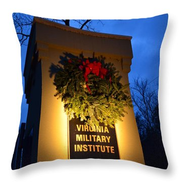 Throw Pillow featuring the photograph Vmi North Gate Pylon  by Cathy Shiflett