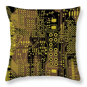 Vo96 Circuit 5 Throw Pillow by Paul Vo