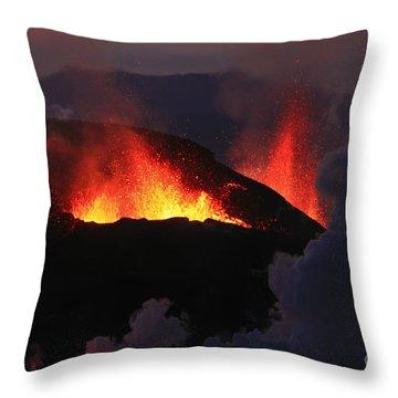 Volcanic Eruptions Throw Pillow by Gunnar Orn Arnason