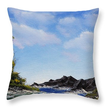 Volcanic Rock Lagoon Throw Pillow