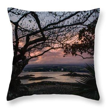 Volcanic Sunset On Hilo Bay - Big Island Throw Pillow by Daniel Hagerman