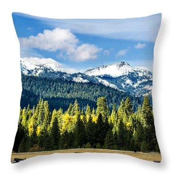 Volcano Peaks Throw Pillow by Jan Davies