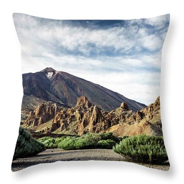 Volcano Teide, With Cloudy Sky And Pine Throw Pillow