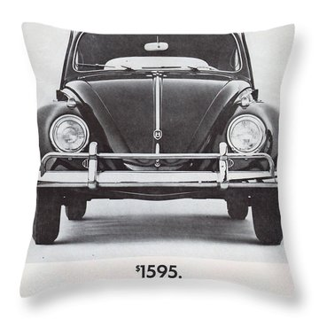 Volkswagen Beetle Throw Pillow by Georgia Fowler