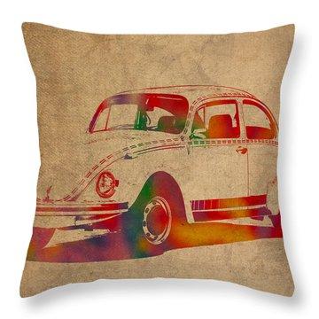 Volkswagen Beetle Vintage Watercolor Portrait On Worn Distressed Canvas Throw Pillow