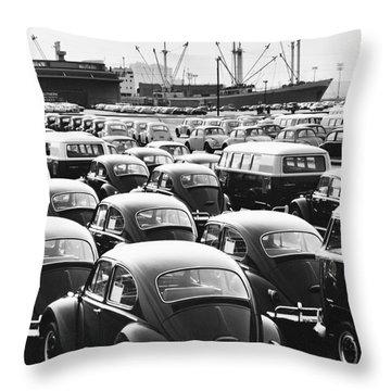 Volkswagen Shipment Throw Pillow by M E Warren