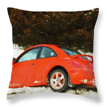 Volkswagen Snow Day Throw Pillow by Andee Design