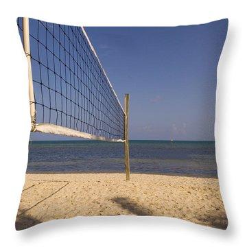 Vollyball Net On The Beach Throw Pillow