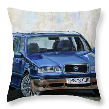Throw Pillow featuring the painting Volvo by Anna Ruzsan