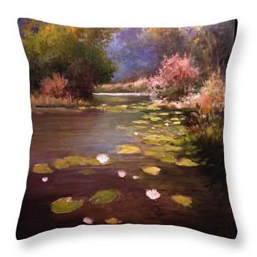Throw Pillow featuring the painting Voronezh River by Mikhail Savchenko