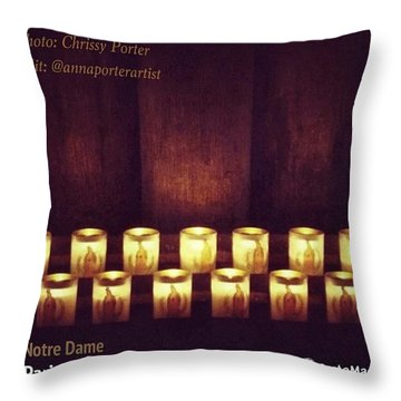 Votive Candles - Notre Dame Cathedral Throw Pillow by Anna Porter