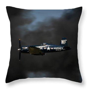 Vought F4u Corsair Throw Pillow by Adam Romanowicz