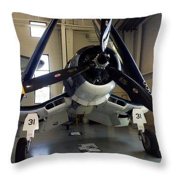 Vought Fg-1d Corsair Throw Pillow by Rebecca Davis