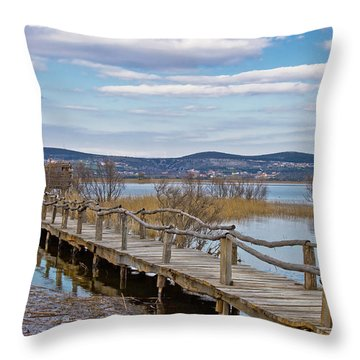 Vransko Lake Nature Park Bird Observatory Throw Pillow by Brch Photography