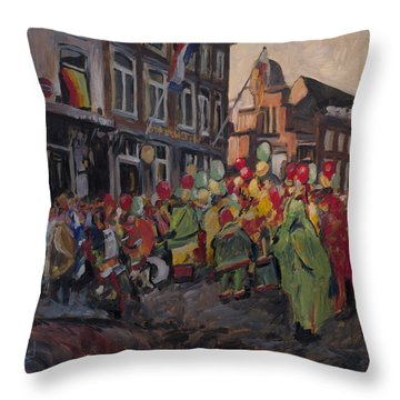 Throw Pillow featuring the painting Vreug And Neugter After The Carnival Parade Maastricht by Nop Briex