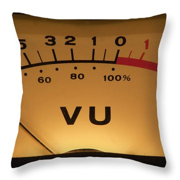 Throw Pillow featuring the photograph Vu Meter Illuminated by Gunter Nezhoda
