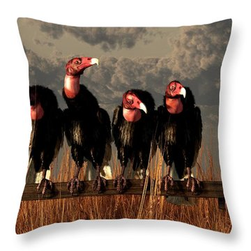 Vultures On A Fence Throw Pillow by Daniel Eskridge