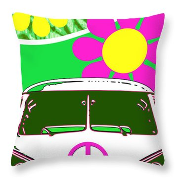 Vw Beach  Green Throw Pillow