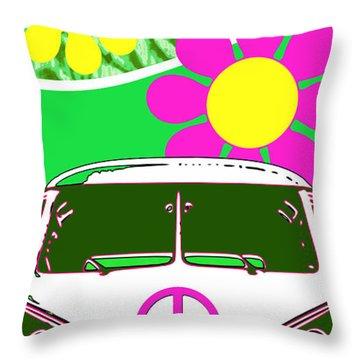 Vw Beach  Green Throw Pillow