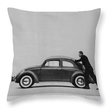Vw Beetle Advert 1962 - And If You Run Out Of Gas It's Easy To Push Throw Pillow