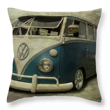 Vw Bus On Display Throw Pillow