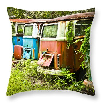 Vw Buses Throw Pillow by Carolyn Marshall