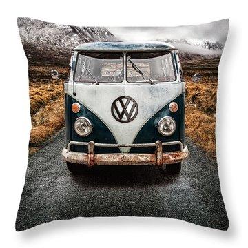 Vw Camper Glen Etive Throw Pillow