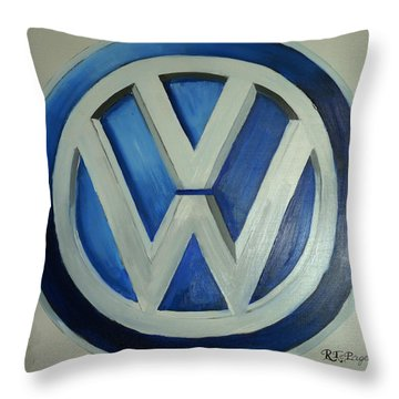 Vw Logo Blue Throw Pillow