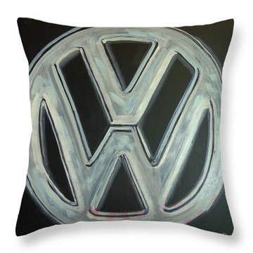 Throw Pillow featuring the painting Vw Logo Chrome by Richard Le Page