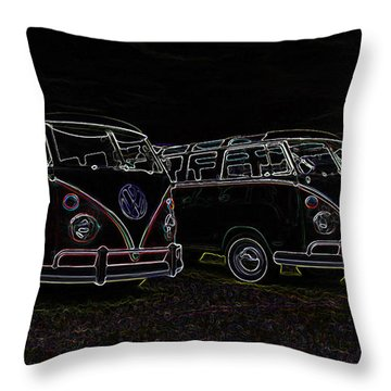 Vw Microbus Glow Throw Pillow by Steve McKinzie