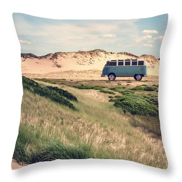Vw Surfer Bus Out In The Sand Dunes Throw Pillow by Edward Fielding