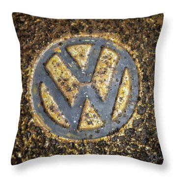 Vw - Volkswagon Hubcap Throw Pillow by Betty Denise