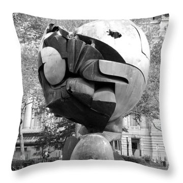 W T C Fountain Sphere In Black And White Throw Pillow by Rob Hans