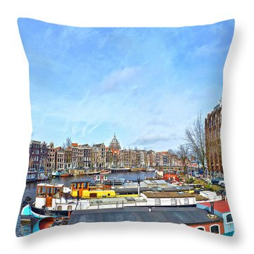 Waalseilandgracht Amsterdam Throw Pillow