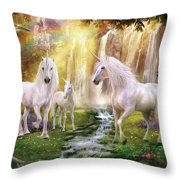 Waaterfall Glade Unicorns Throw Pillow by Jan Patrik Krasny