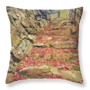 Wabi-sabi Rubble Masonry Bamboo Fence Fallen Leaves Throw Pillow