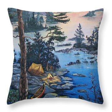 Throw Pillow featuring the painting Wabigoon Lake Memories by Sharon Duguay