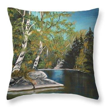 Throw Pillow featuring the painting Wabigoon Lake by Sharon Duguay