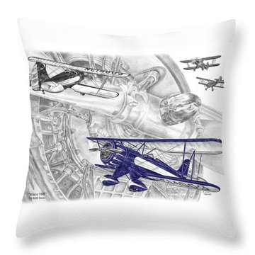 Waco Ymf - Vintage Biplane Aviation Art With Color Throw Pillow