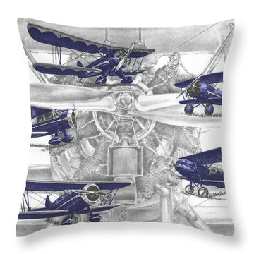 Wacos - Vintage Biplane Aviation Art With Color Throw Pillow