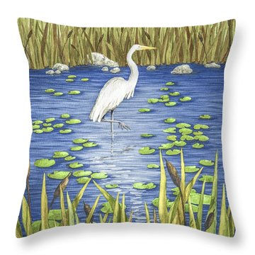 Wading And Watching Throw Pillow