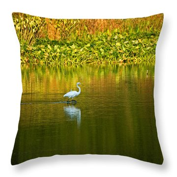 Wading Egret Throw Pillow