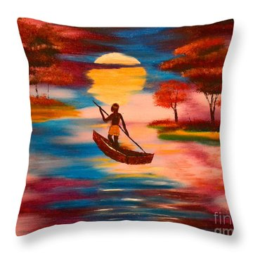 Wading For Magenta Throw Pillow