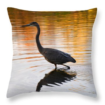 Wading For You Throw Pillow by Judy Wolinsky