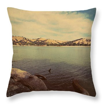 Wading Into The Cold Water Throw Pillow by Laurie Search