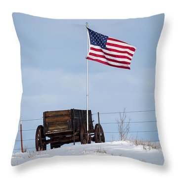 Wagon And Flag Throw Pillow
