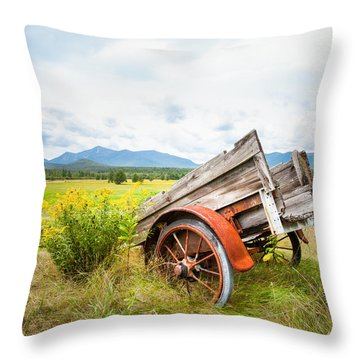 Throw Pillow featuring the photograph Wagon And Wildflowers - Vertical Composition by Gary Heller