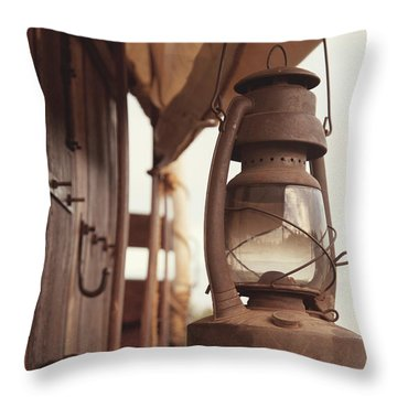 Wagon Lantern Throw Pillow by Toni Hopper